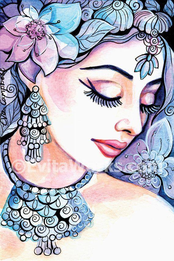 Indische Braut Kunst göttliche weibliche indische von EvitaWorks