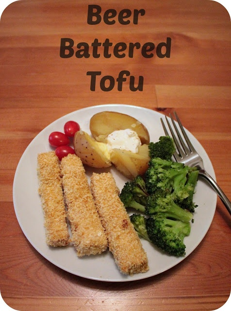 2 blocks of extra firm tofu, pressed  1 cup veggie broth 1 tsp veggie bouillon  2 tbsp sliced scallions 2 tbsp Braggs liquid aminos or soy sauce 1 tbsp brown mustard 1 tsp Thai chili sauce (watch for fish in the ingredients) 1/4 tsp garlic powder 1/4 tsp black pepper 1 1/4 tsp kosher salt, divided 1/4 tsp dried thyme 1-12 ounce bottle or can of your favorite beer 1 cup all purpose flour 1/2 cup plain, unsweetened non-dairy milk 1 1/2 cups panko breadcrumbs  3 tbsp nutritional yeast