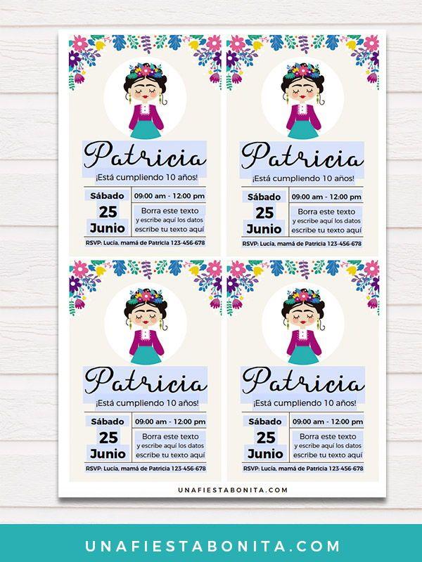 Invitación Frida Kahlo Invitaciones De Cumpleaños Frida