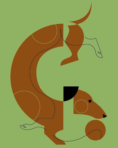 Dachshund by Charley Harper