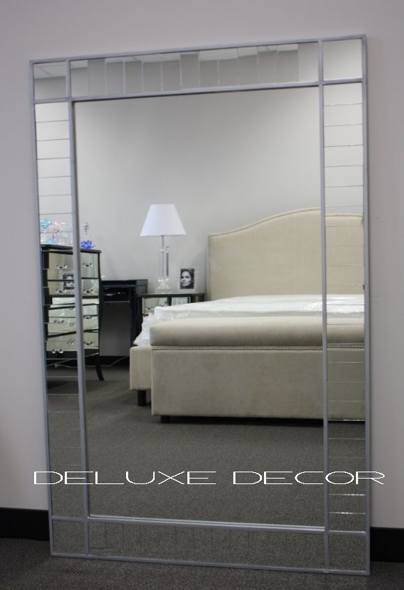 modern silver framed large wall mirror with mirror tile border 1543 1300 x 840mm - Large Designer Wall Mirrors