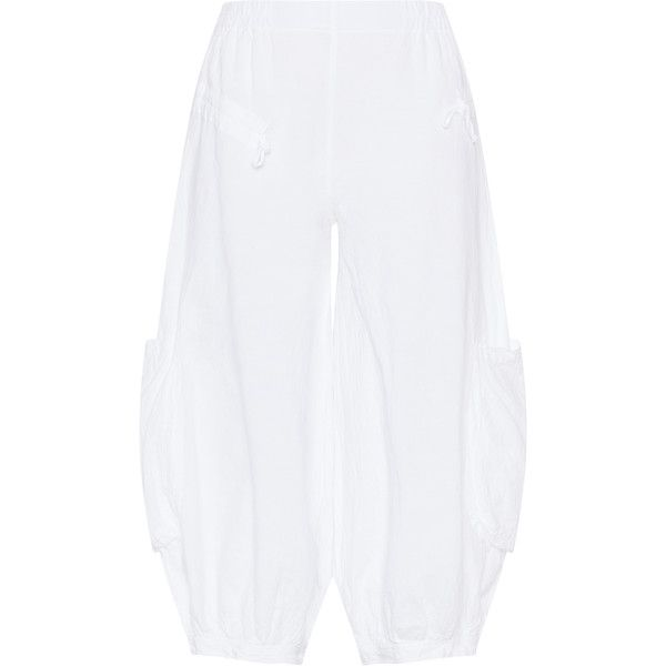 Kekoo White Plus Size Cotton and linen cargo trousers ($66) ❤ liked on Polyvore featuring pants, plus size, white, high waisted wide leg trousers, plus size high waisted pants, high-waisted wide leg pants, high waisted wide leg pants and plus size cargo pants