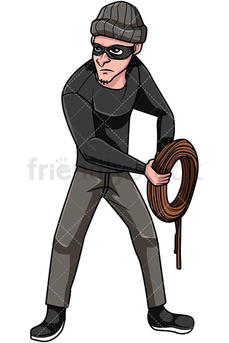 Thief Holding Rope: Royalty-free stock vector illustration of a male bandit holding a rope while wearing a mask and a beanie to hide his facial characteristics and identity. #friendlystock #clipart #cartoon #vector #stockimage #art #thief #criminal #bandit #burglar #robber #outlaw #crook