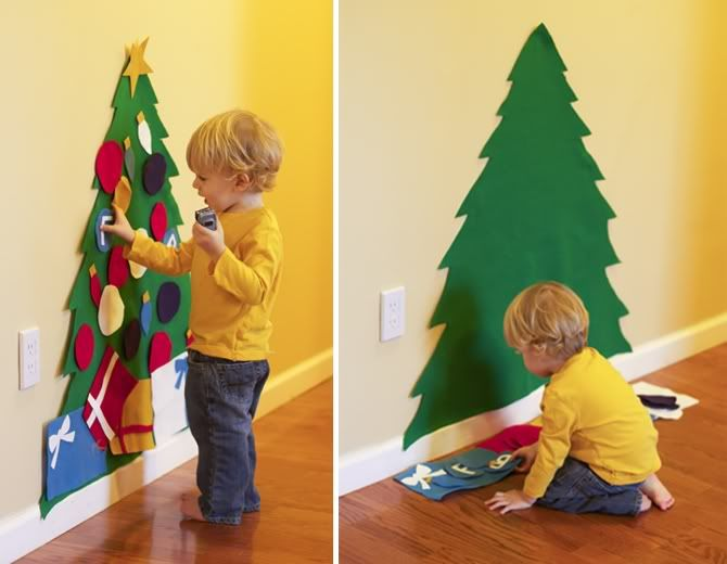 Felt Christmas tree that a toddler can decorate over and over and leave the real one alone! Cute idea. Maybe I can try with other things with my niece to keep her entertained!