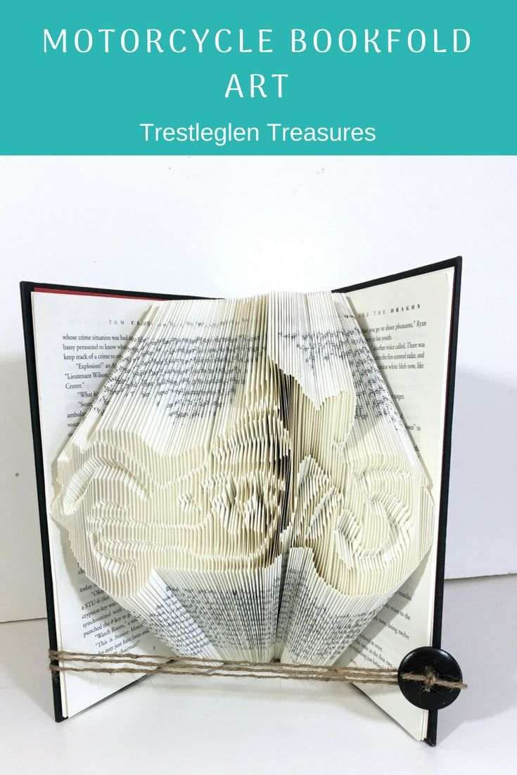 Motorcycle Art Boyfriend Birthday Gift Folded Book Man Cave Decor For Enthus