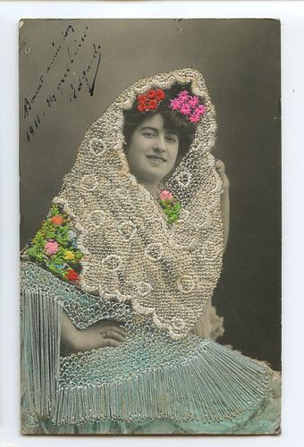 Embroidered Silk Photo Dancer Spain Glamour Lady 1910s Postcard