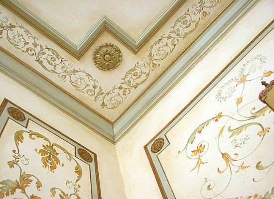 Give your home custom intricate details with little more than stencils and crown molding