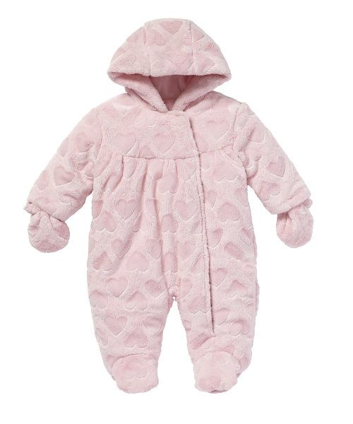Heart Embossed Fluffy Suit