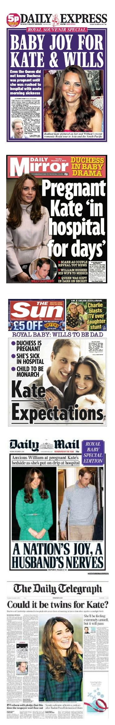 A Royal Baby - The newspaper front pages 04 December 2012.