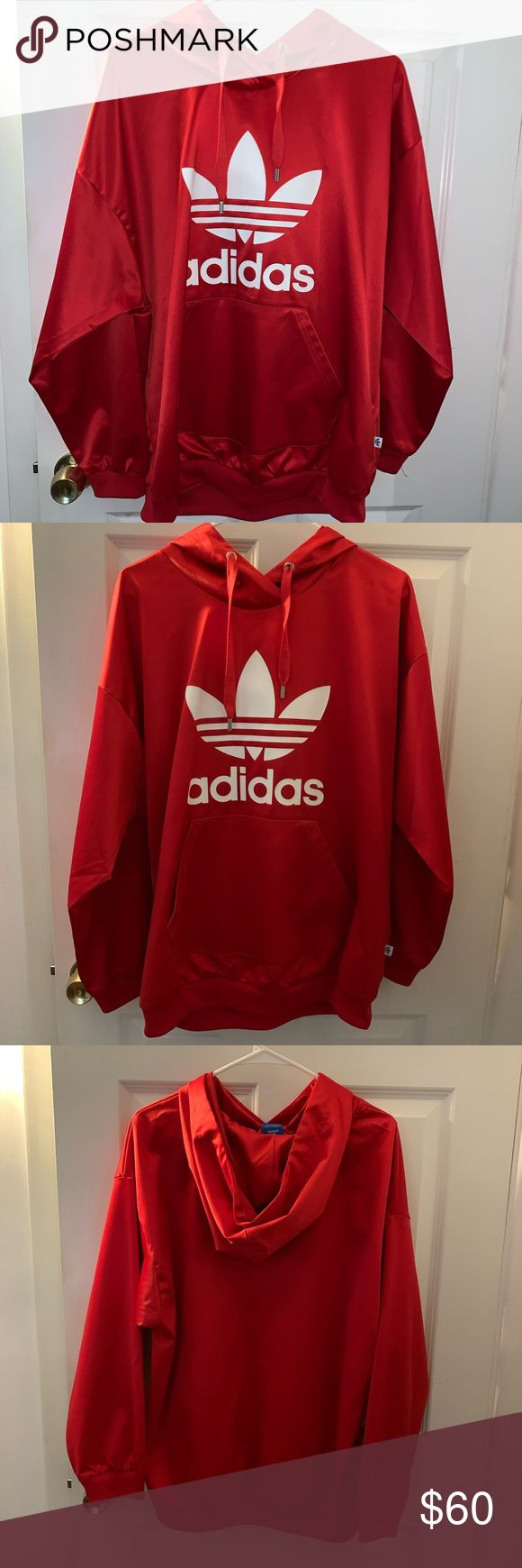 Adidas Limited Edition Red Satin Trefoil Hoodie Red Adidas Sweatshirt Red Adidas Red Satin [ 1740 x 580 Pixel ]