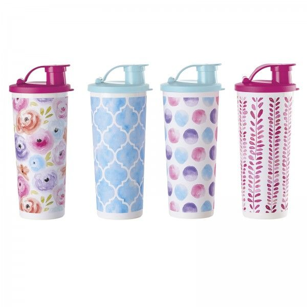 Tupperware Art of Spring Tumblers:          Cheerful spring colors that coordinate with the Art of Spring Lunch Bag. Each tumbler features a unique, garden-themed design. Set of four 16-oz./470 mL tumblers with liquid-tight seals and flip-top spouts.       Fuchsia Kiss/Serene Sky   Artwork not covered by Limited Lifetime Warranty        Item:10129639000