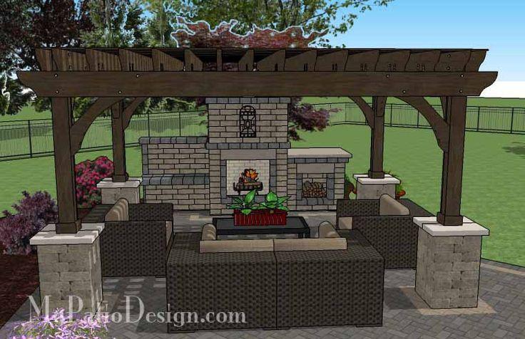 courtyard paver patio design with pergola fireplace