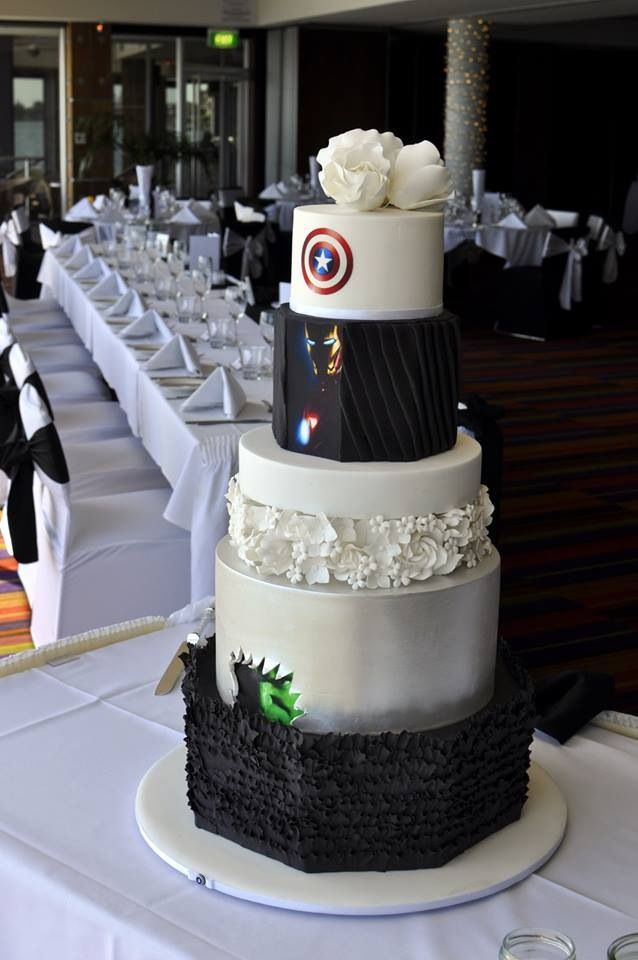 Back of Superhero/Avengers wedding cake I would love him forever if he let me do this.!!!
