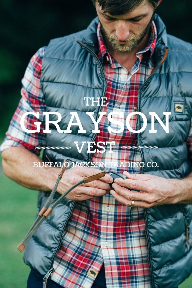 This mens vest has a rich texture from the light wax coating. (Shown here in gray.) A quality micro puff mens vest, perfect for layering with an oxford or flannel shirt with jeans and boots.