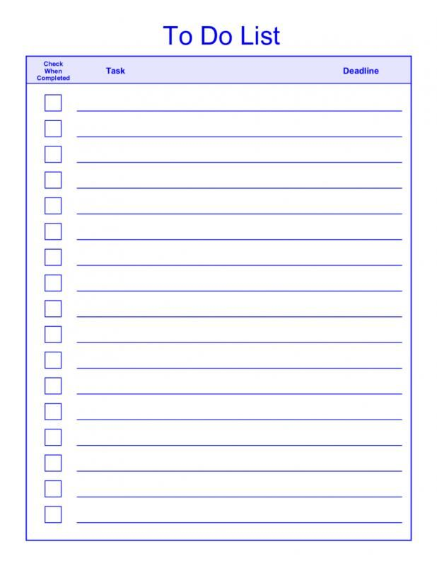 Todo List Template Word List Template To Do List Word Template