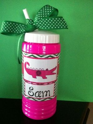Pink Personalized Alligator Sports Bottle and Snack Cup-Monogrammed sports bottle, personalized sports bottle, kid's bottle, kid's sports bottle, Monogrammed kids' bottle, sports cup, monogrammed sports cup, football cup for kids, kid's football cup, red sports cup, blue sports bottle, pink sports bottle, leopard sports bottle, girls sports bottle, boy's sports bottle, hot pink bottle, Stripe sports bottle, girls pink bottle, girls monogrammed sports bottle, alligator sports bottle, girl…