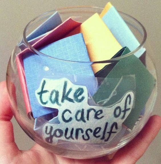 What a great idea for group therapy or at home self-care. Write down affirmations and self-care activities, such as: read for an hour, sit on the front porch (just sit), take a bubble bath or take a leisurely walk. #RecoveryIsOngoing #SelfCareMatters