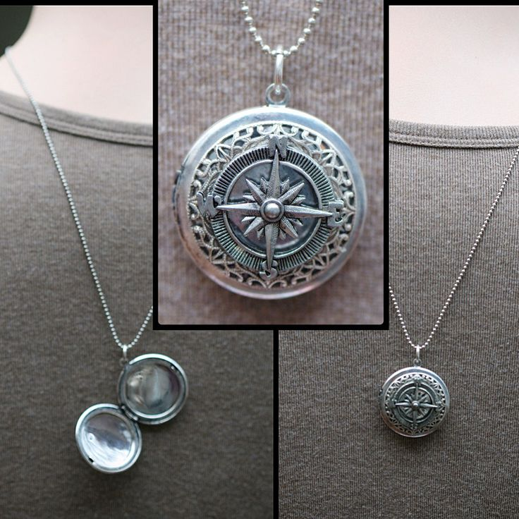 Unisex Necklace LOCKET Personalized. Double Sided. Compass. Nature lover men man Deployment. Matching couples jewelry Anchor bird For him. $32.00, via Etsy.