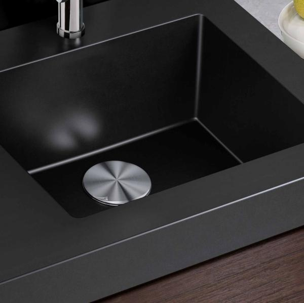 Silgranit Anthracite Sink, Shown With Blanco CapFlow Strainer Cover.  CapFlow Available Spring