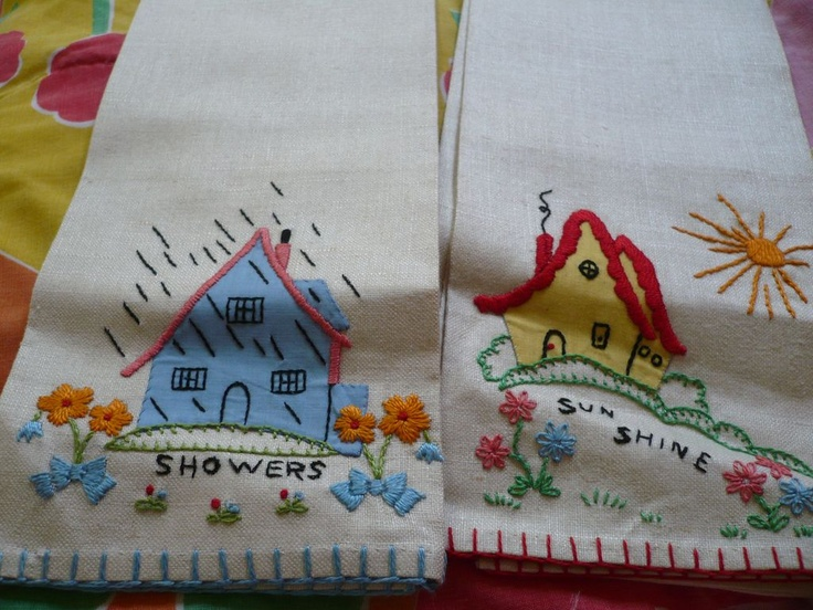 Embroidered Applique Towels: Embroidered Applique