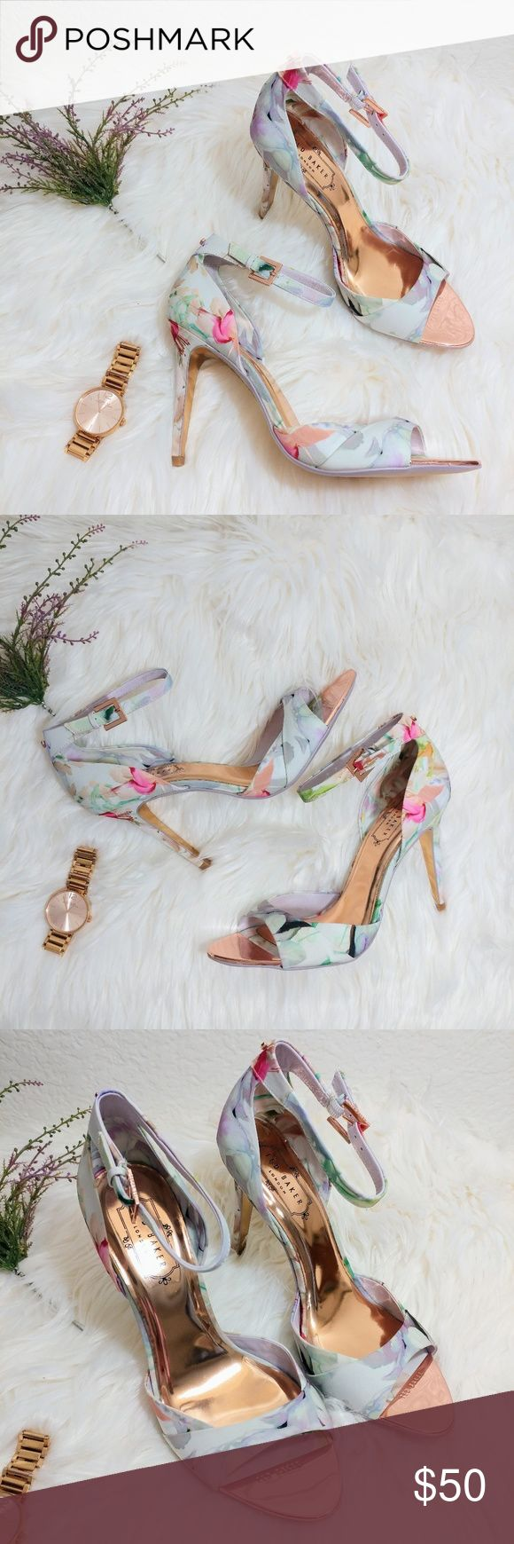 """Ted Baker Ankle Strap Caleno Hanging Gardens Heels Brand: Ted Baker Size: Women 8  These heels are adorned in a dreamy whirl of pastel floral prints and metallic rose gold insole. Trendy ankle strap with a small 3D bow in the back.   Brand new without Box. 4"""" Heel  Let me know if you have any questions about these adorable heels! Price is firm. Ted Baker Shoes Sandals"""