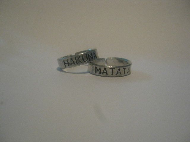 Hakuna matata rings, Disney, Personalized ring, valentines day, gifts for best friends, mens gift, aluminum ring, hakuna matata. $10.00, via Etsy.