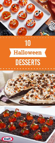 10 Halloween Dessert Ideas – When you're planning your Halloween party menu, Halloween dessert recipes top the list in terms of deliciously festive fun. Suddenly, formerly harmless-looking classic desserts turn into Halloween cakes, cupcakes, and cookies decorated with cobwebs, gummy worms, and JELL-O® treats in alarming shapes! Spooky treats the whole family can enjoy—now we're talking!