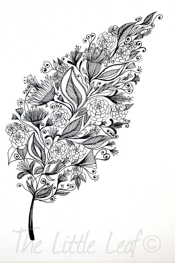 Patterned Leaf Art Drawing 8x10 Print by ArtbyTheLittleLeaf, $18.00