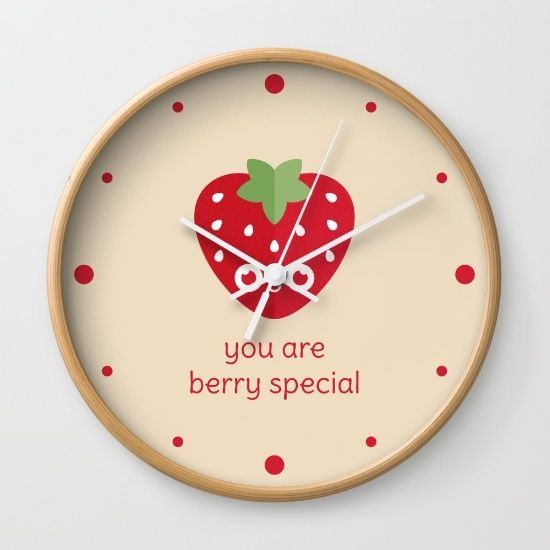 You Are Berry Special Wall Clock - pun, puns, strawberry, strawberries, berry, berries, food, funny, cute, love, relationship, tasteful, tasty, relationships, valentine, valentines, vector, art, illustration, drawing, design