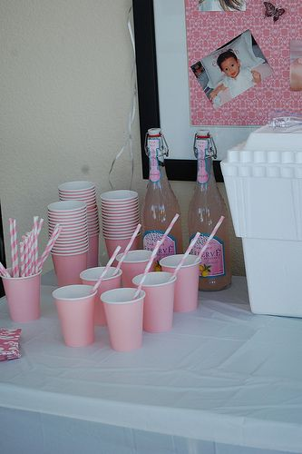 Pink solo cups & pink stripe paper straws  Catch My Party