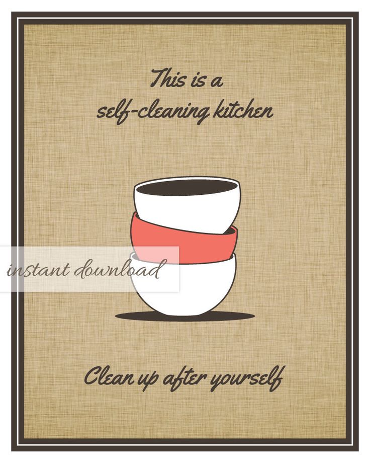 Clean Office Kitchen Signs: Printable Kitchen Art / Clean Up After Yourself Sign