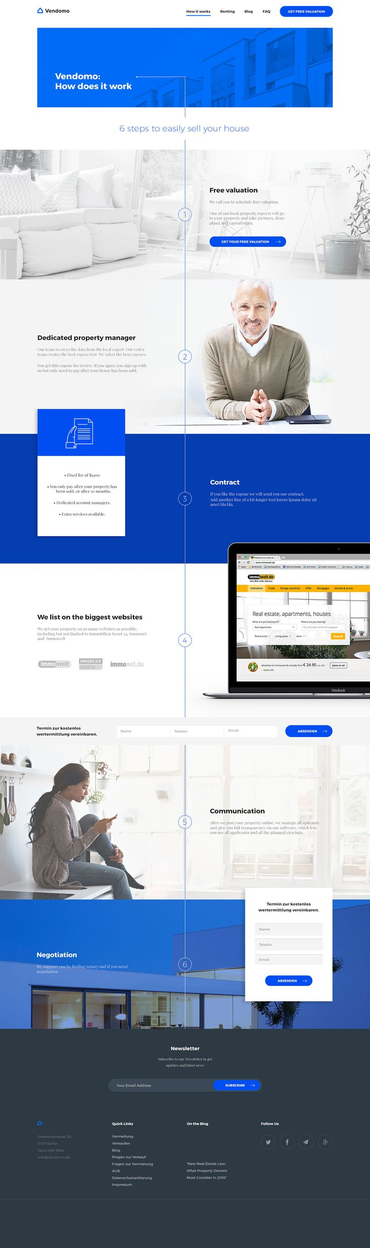 Vendomo - how it works page - real estate on Behance