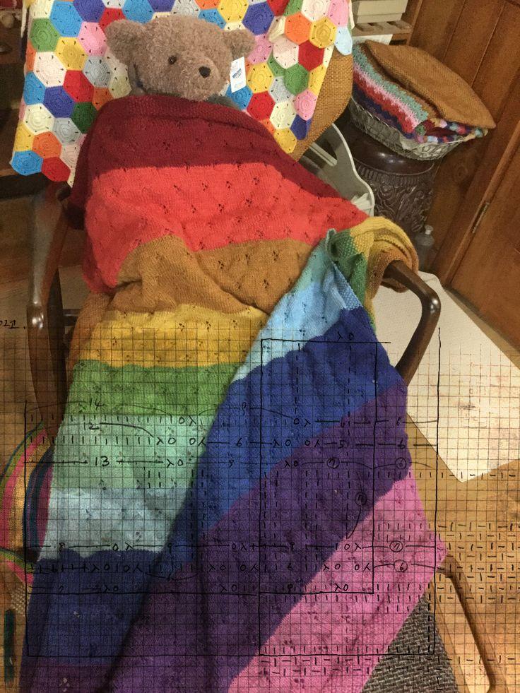 Queer Rainbow blanket 102*140 100%PURA RANA VERGINE SUPERWASH 50g 125m/mt*25 ITALIA