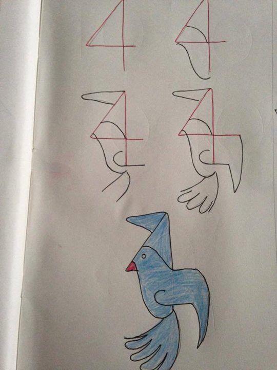 Tekenen met behulp van cijfers | een vogel/duif stap voor stap tekenen | basisschool | groep 3 | groep 4 | groep 5