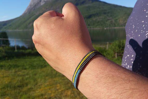 Bracelet for men/ Unisex loom beaded bracelet/ Gift for him