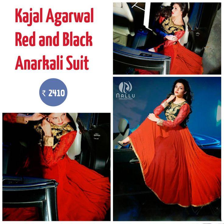 Kajal Aggarwal Red and Black Anarkali Suit  ✔Style      - Anarkali Suit ✔Colour    -Red,Black ✔Fabric    -Georgette ✔Dupatta  -Chiffon ☛Shop @ :http://goo.gl/uBkVQD