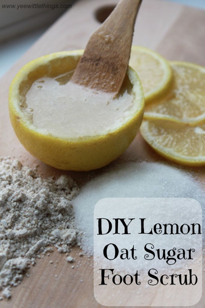 DIY Lemon Oat Sugar Foot Scrub - Yee Wittle Things. Oh my gosh. I literally just did this and my feet and hands were the softest thing ever!! <3 x10000000!