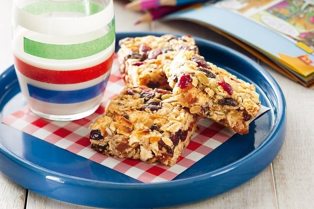 Coated in a sticky honey-butter glaze, have this muesli bar for breakfast on the run or for a healthy snack.