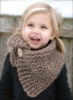 make this for M, but use grey yarn and pink heart shaped oversized button.