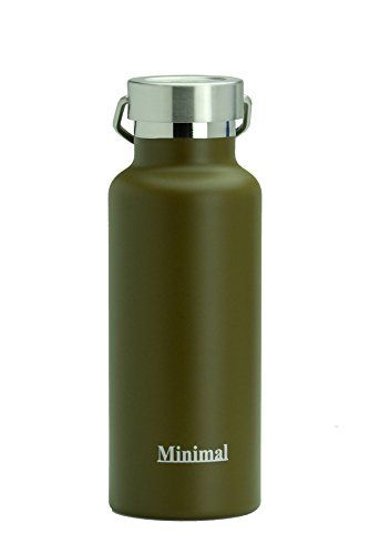 Minimal Stainless Steel Double Wall Insulated Water Flask Bottle  17oz Brown  188 Stainless Steel Double Wall Vacuum Insulated with Copper Coating All Metal Construction  BPA Free * Click image to review more details.