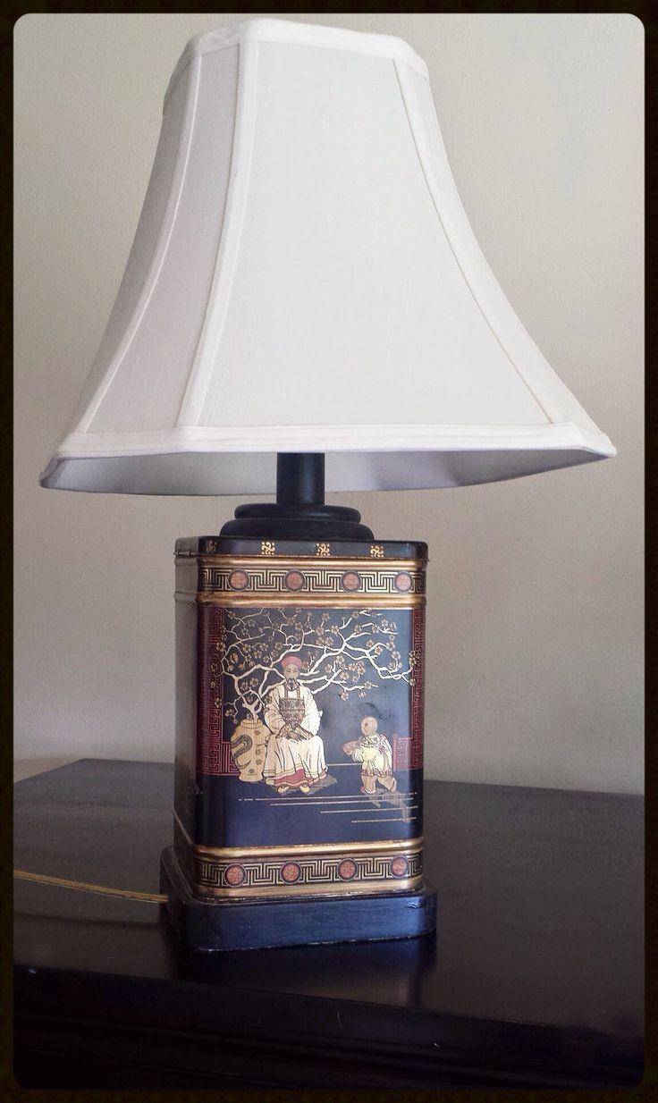 Vintage Oriental Asian Tea Caddy Tin Table Lamp Black Red