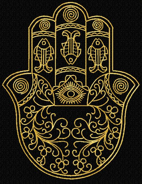 Gold Lacy Hamsa Machine Embroidery Designs set + corners - Prosperity (Fish and Eye of Protection)