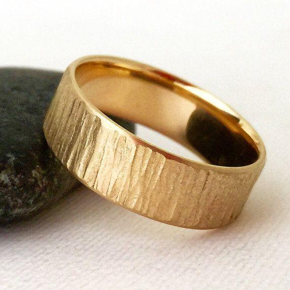 Men's Wedding Band Gold Rustic Bark Wedding Ring by SilverSmack