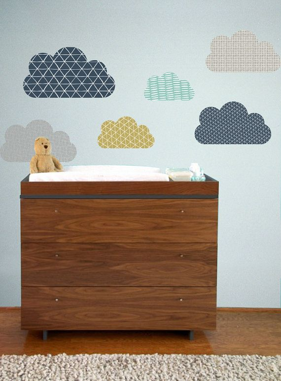 Geo Clouds - WALL DECAL 6 Clouds - 1- 22 W 3 -17 W 2 - 13 W Perfect for a childrens room, nursery, or daycare. Fully removable and