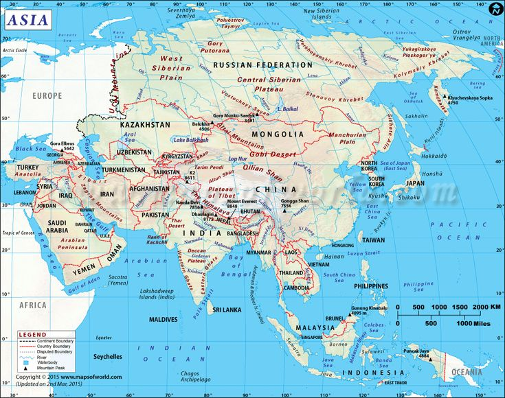 Check out the map of Asia continent showing all the countries located in Asia.