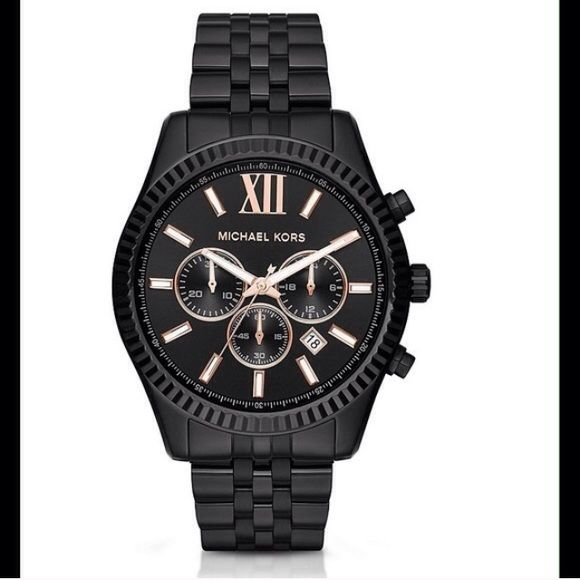 SALEMichael Kors Lexington Chronograph Watch Mens Brand New Black Michael Kors Watch with original tags and stickers. Stainless steel bracelet with MK standard single buckle black dial. 10 ATM water resistance. Make an offer. Michael Kors Accessories Watches