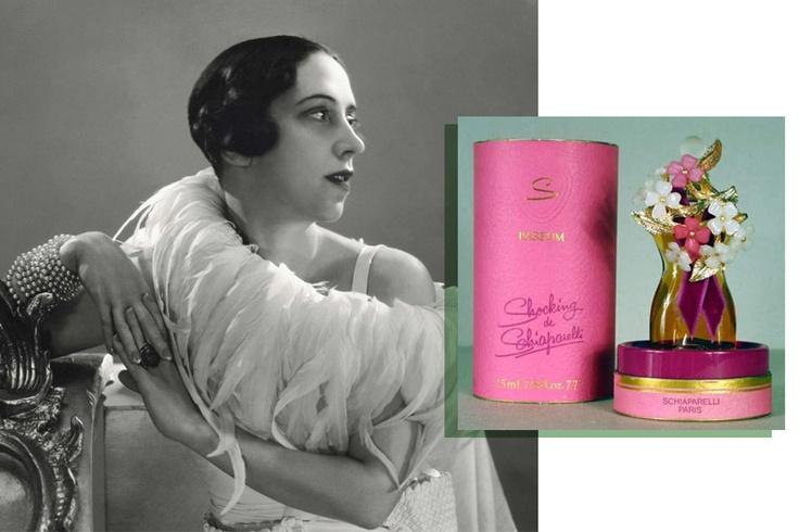 """Un ritratto della couturier Elsa Schiparelli con il suo profumo, creato nel 1936, """"Shocking de Schiaparelli"""""""
