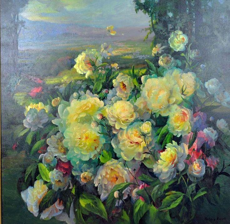 Vintage Floral Landscape Oil on Canvas