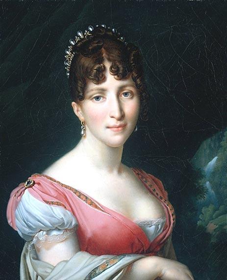 Hortense Eugénie Cécile Bonaparte, born Hortense de Beauharnais, Queen Consort of Holland, Comtesse de Saint-Leu, Duchesse de Saint-Leu; c. 1808. Her father was Alexandre de Beauharnais, Vicomte de Beauharnais. Her mother was Josephine, Empress Consort of the French who was later married to Napoleon I, Emperor of the French. Hortense married Louis Napoleon Bonaparte, Prince of France, Comte de Saint-Leu, King of Holland. He was the brother of Napoleon I.