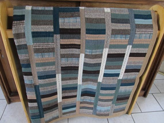 All Wool Reversible Patchwork Quilt from recycled clothes